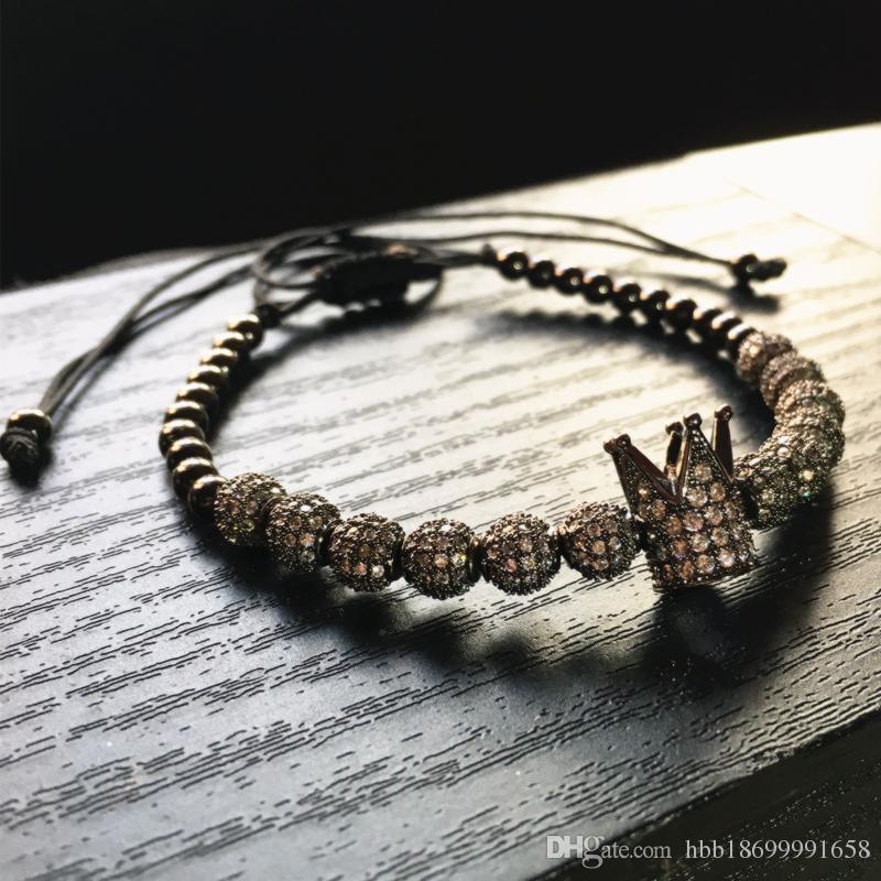 New Fashion men Micro Pave CZ Cubic Zircon Jewelry charm of the Crown and 4mm Round Beads Braided Bracelet Female pulseira macrame