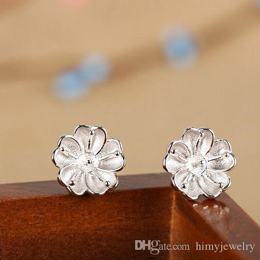Real Sterling Silver 925 Plated White Gold Semi Mount Flower Women Stud Earrings for Pearl or Round Bead 6mm 7mm 8mm Fine Jewelry