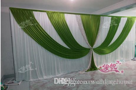 Shiny sequnis wedding swag wedding stage backdrops curtain shiny sequnis wedding swag wedding stage backdrops curtain decoration romantic green with white wedding curtain with swags wedding decor singapore wedding junglespirit Images