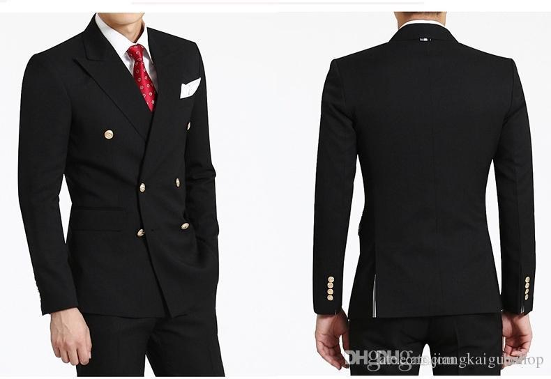 2016 Double-Breasted Side Vent Groom Tuxedos Peaked Lapel Men's Wedding Dress Holiday Clothing Business SuitJacket+pants+tie
