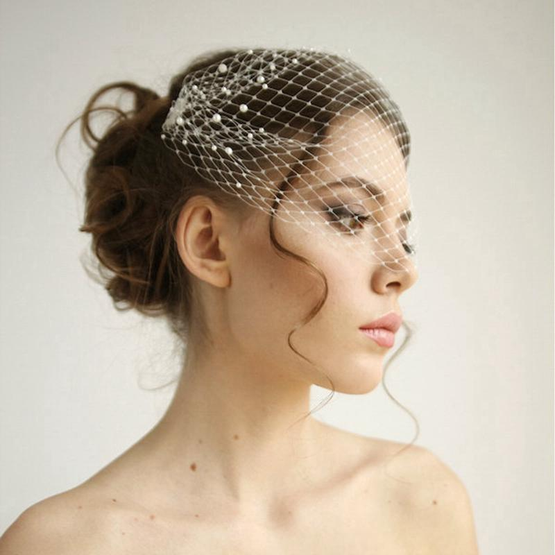 Pearl Bandeau Birdcage Wedding Veil Russian Netting Headband Veil Bridal  Accessories With Metal Combes Both Side Short Veil For Brides Cathedral  Length Veil ... e36f2c677e2