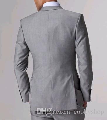 Personalizado Feito Fit Fit Groom Smoking Light Cinza Lado Cinzento Melhor Homem Terno Do Casamento Groomsman / Homens Ternos Noivo Casaco + Calças + Colete Bonito