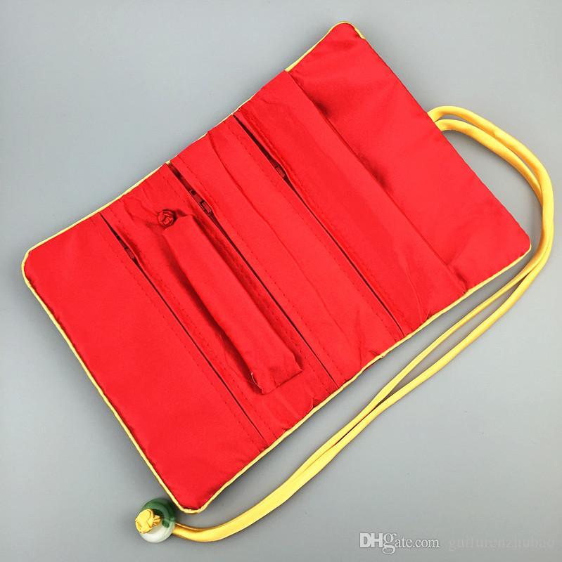 Plegable portable de la joyería Jade tela de seda del rodillo cosmético del recorrido del bolso 3 de la cremallera de la bolsa de anillo de la pulsera del pendiente del collar bolsa de almacenamiento