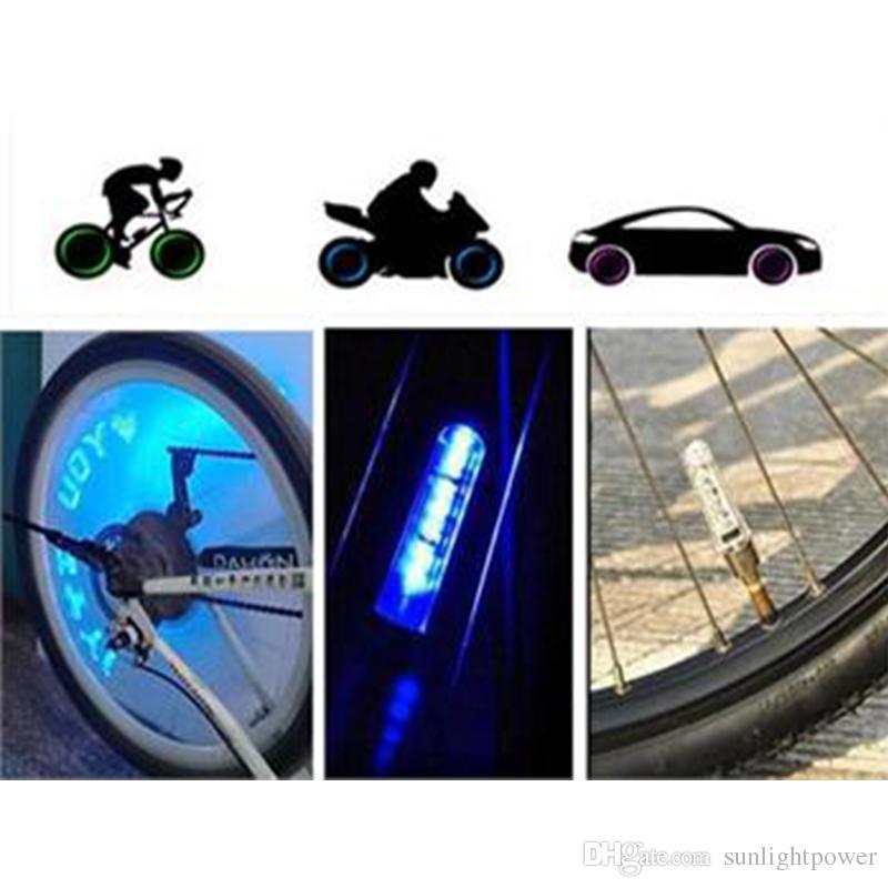 1 Çift Lastik Tekerlek Vana Işık Konuştu Araba Dağ Bisikleti Bisiklet LED El Feneri Emniyet Isınma Işık