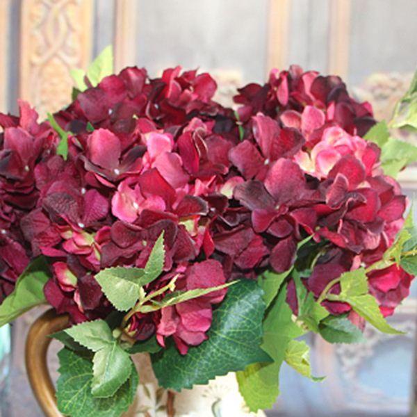 Wholesale wine red rose 1 bouquet artificial silk flower arrangement wholesale wine red rose 1 bouquet artificial silk flower arrangement california hydrangea wedding decor party by swimwear3 under 1055 dhgate mightylinksfo