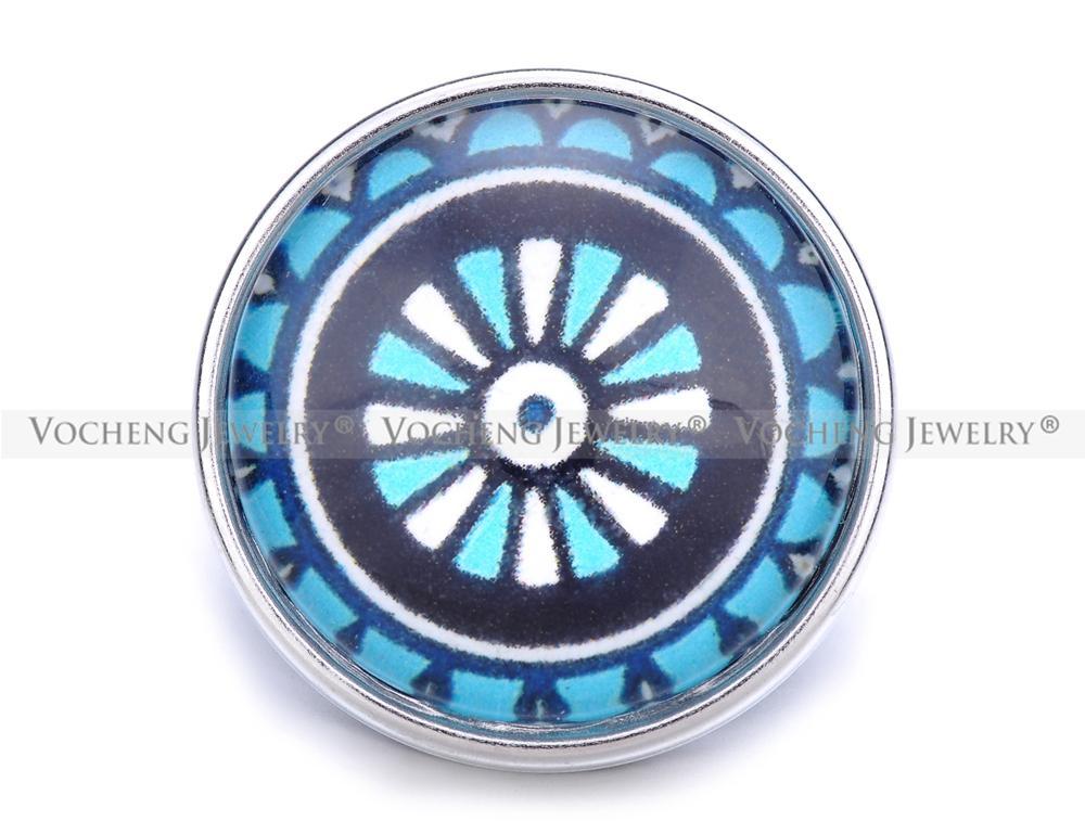 VOCHENG NOOSA Gros Bouton En Verre Gingembre Bleu 18mm Vn-1212