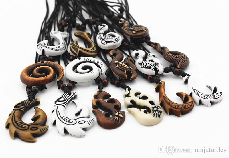 Gros Mixte Hawaïen Bijoux Imitation Os Sculpté NZ Maori Poissons Crochet Pendentif Collier Ras Du Cou Amulette Cadeau MN542