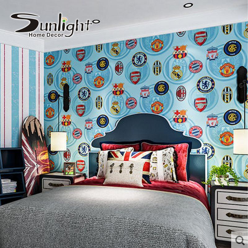 See larger image. European Football Boys Room Wallpaper Roll Imported Pure Paper
