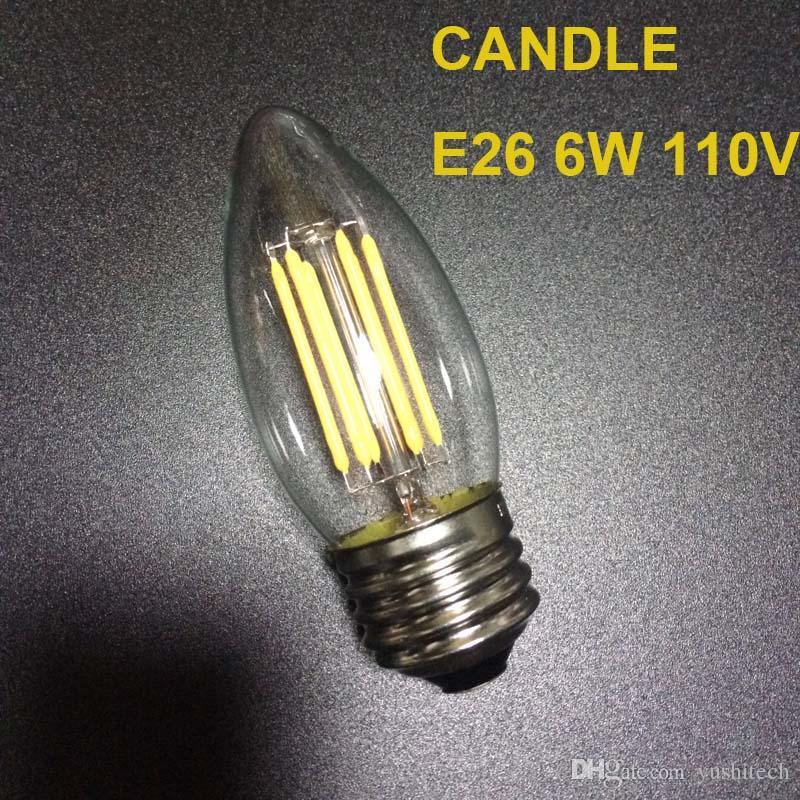 E12 E14 E26 Base dimmerabile 2/4 / 6W Lampadine a candelabro a filamento LED 110lm / w 2700K 110V 220V C35 Bullet Top C35T Punta piegata COB Lampadina CE, Omologazione UL