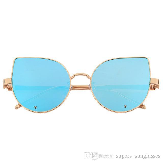 406bed1de244e Hot! Fashion Design Women Cat Eye Sunglasses Flat Lens Mirrored Metal Frame  Gradient Type Glasses Oversized Sunglasses Shop Bolle Sunglasses From ...