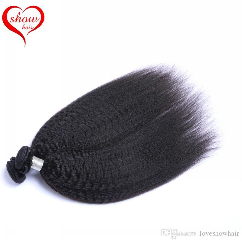 8A Unprocessed Yaki Straight Brazilian Hair Weaves 3 or Kinky Straight Yaki Human Hair Extensions Double Weft