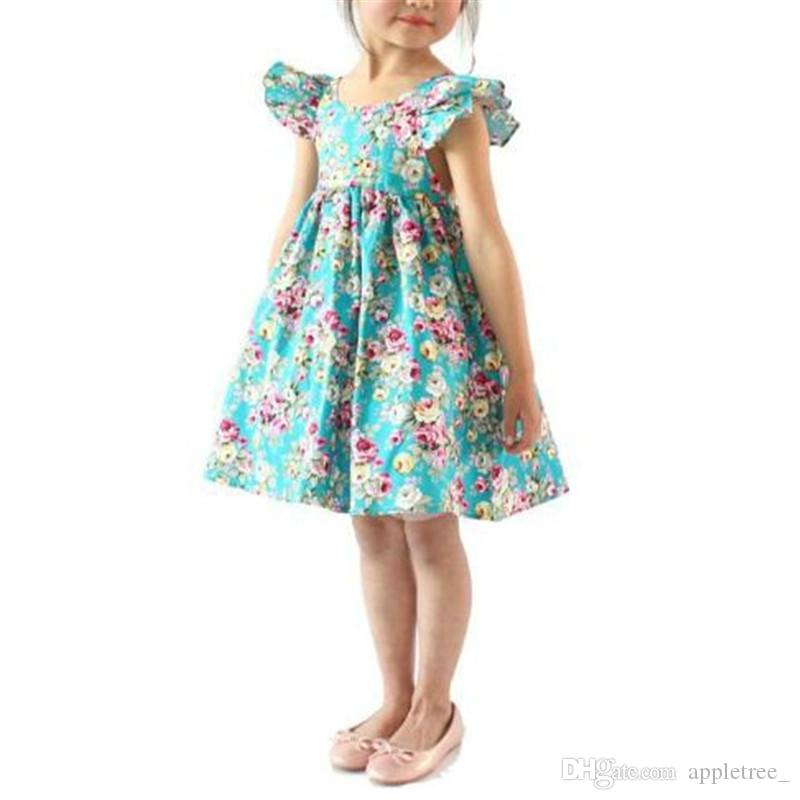 bc837acbc1cd 2019 Backless Halter Floral Princess Dresses Summer Girl Baby Clothing Kids  Flower Ruffle Beach Dress Children Toddler Clothes Wholesale New Hot From  ...