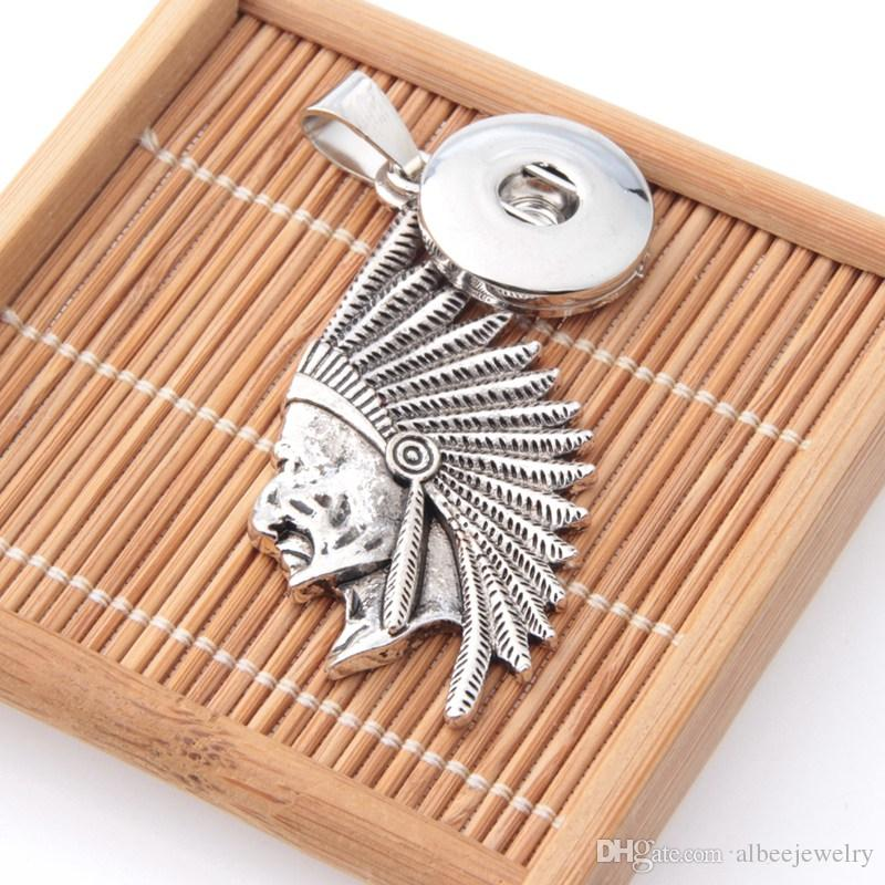 Fashion antique silver Indians Figure noosa chunks metal ginger snap button key chains fit 18mm button snap keyring jewelry