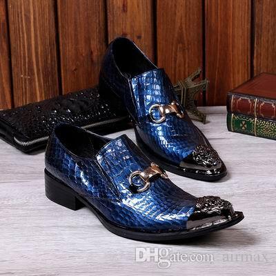 Personnalisé Hommes Bleu Loisirs En Cuir Chaussures Designer De Mode En Métal Toe Charme Glisser Sur Le Crocodile Chaussures de Bateau De Modèle Pour Show Black