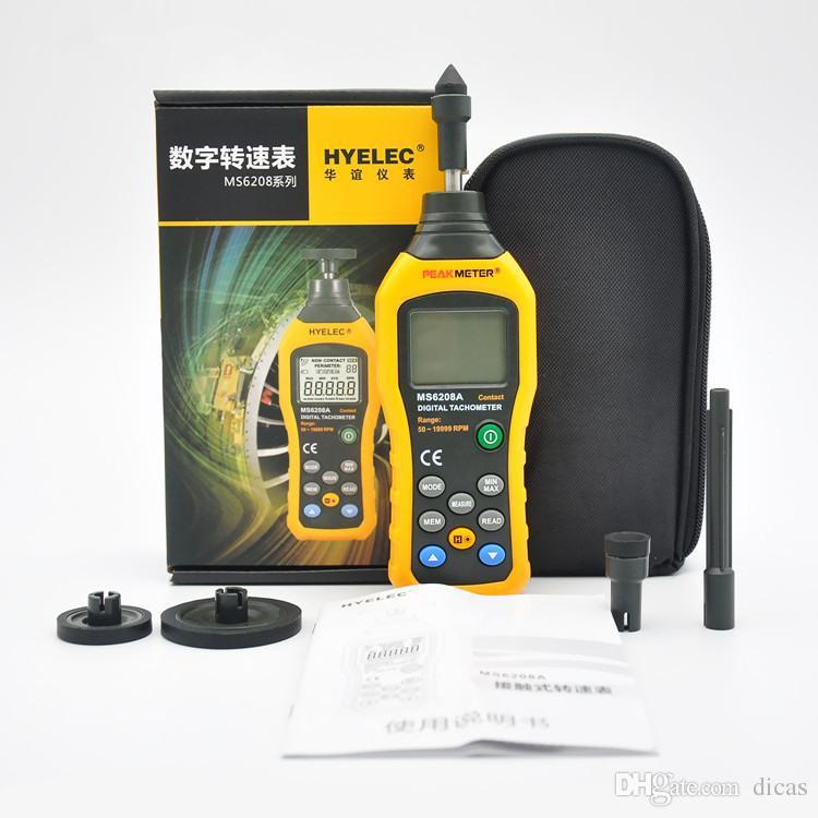 무료 배송 접촉 속도계 전자 타코미터 디지털 속도 측정 계기 데이터 저장 보류 백라이트