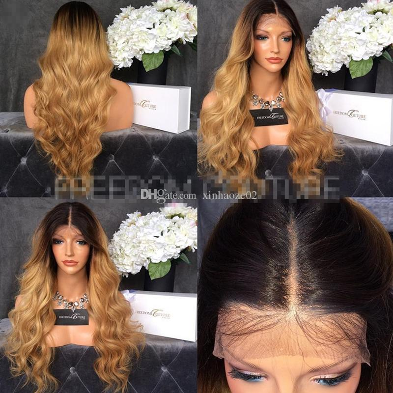 Brazilian Human Hair Glueless Wigs 1B 27 Ombre Body Wave Middle Part Full Lace Wigs 150% Density Two Tone lace front wigs