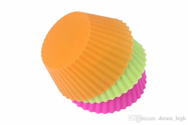 Round Silicone Muffin Cup Cases Cake Cupcake Baking Moulds 7cm Reusable & Nonstick Muffin Cups Kitchen Gadgets Tools