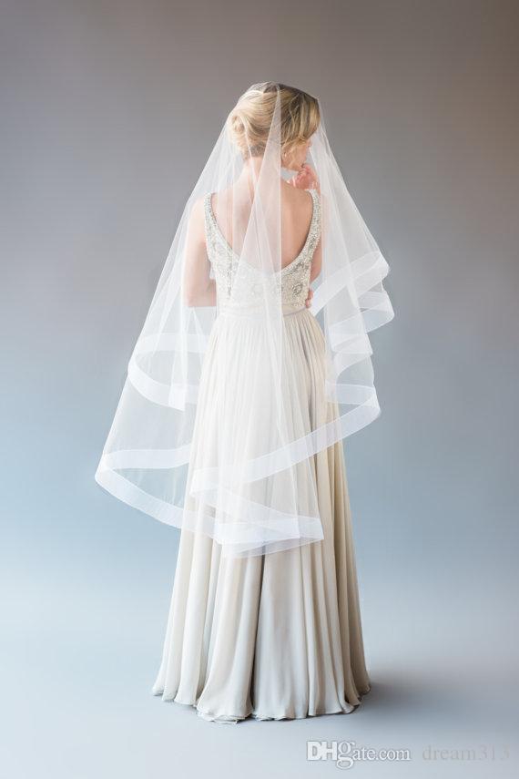 Top Quality Best Sale Romantic Mantilla Veil Fingertipe White Ivory For Wedding Dresses Satin Edge Wide Ribbon Birdcage Veils Blusher