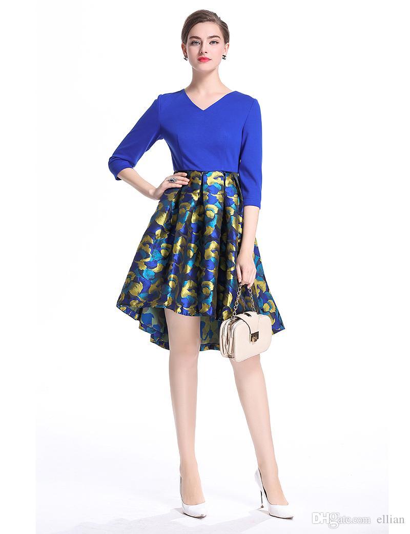 Moda Drukuj Kobiety Asymetrical Dress V-Neck Half Sukienki 0917188