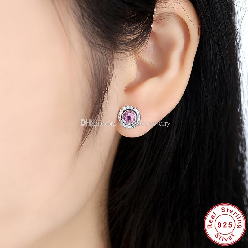 Brilliant Legacy Sterling Silver Stud Pendientes con rosa claro CZ Original Pandora Style Pendientes para mujer ER028