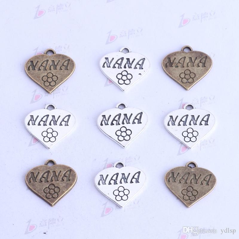 NANA amor plana colgante de plata antigua / bronce retro diy encantos de la joyería en forma de collar o pulseras 400 unids / lote 3432