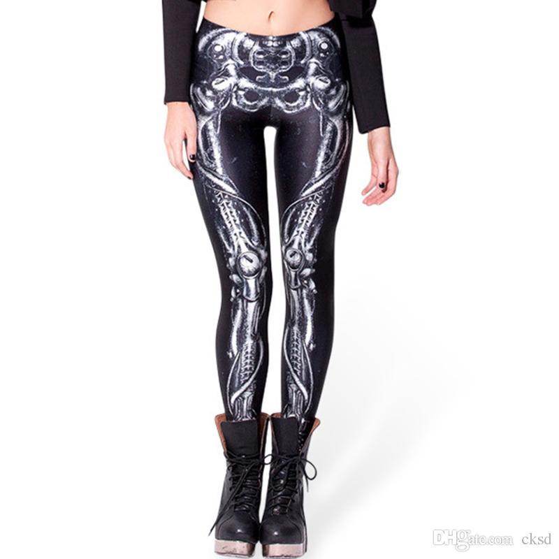 Pantalon de mode BARBARIAN Skull print women, plus la taille du pantalon blanc cassé sexy sexy de Capris, un pantalon leggings de gym imprimé PWDK16 WR