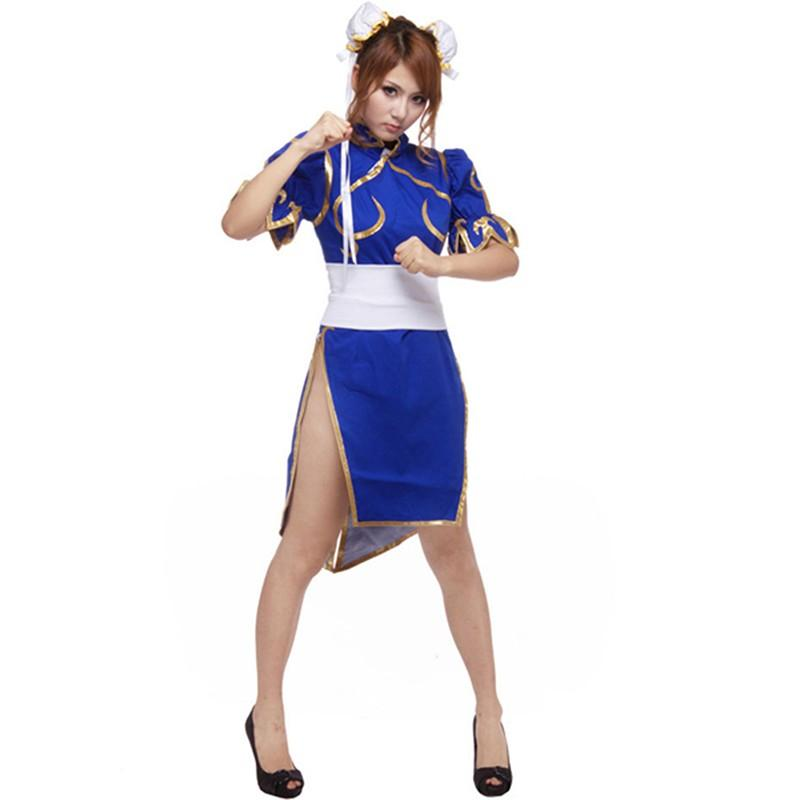 Japanese Game Sf Street Fighter Cosplay Female Player Chun Li Blue ...