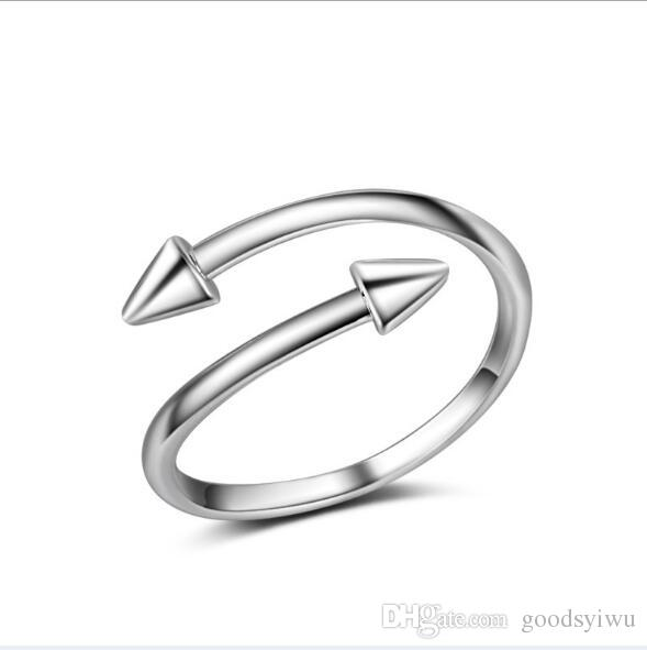 Fashion New 925 Sterling Silver Nail Arrow Rings Point Charms Opening Adjustable Tail Ring For Women JZ126