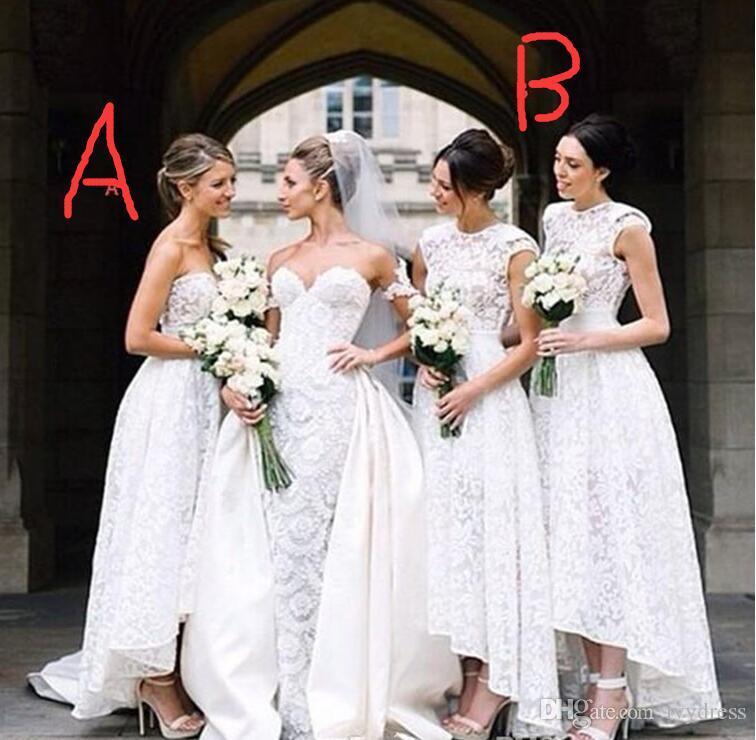 New Design Hi Lo Bridesmaid Dresses Full Lace A Line