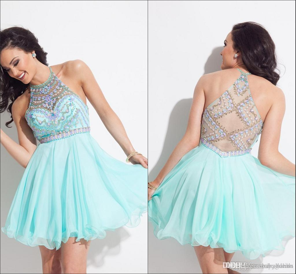 Mint Green Halter Rhinestone Homecoming Dresses 2016 Illusion Short Mini Party Gowns Prom Dresses Cocktail Dress 8th Grade Graduation Dress