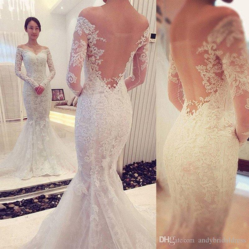 Sexy Modern Off The Shoulder Long Sleeve Mermaid Wedding Dresses Bridal Gowns Bare Back Chapel Train Lace Beaded Dress