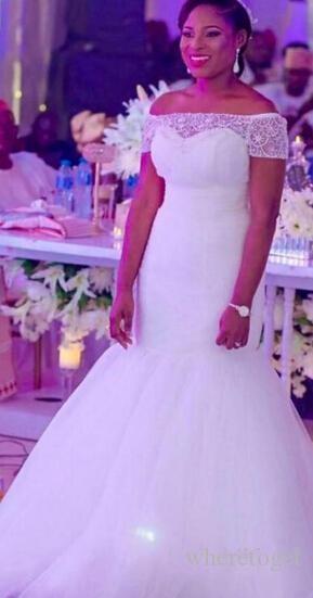 Modest formato più pura perline Bateau Neck abiti da sposa Mermaid 2019 posteriore del tasto di Tulle Abiti da sposa sweep treno su ordine