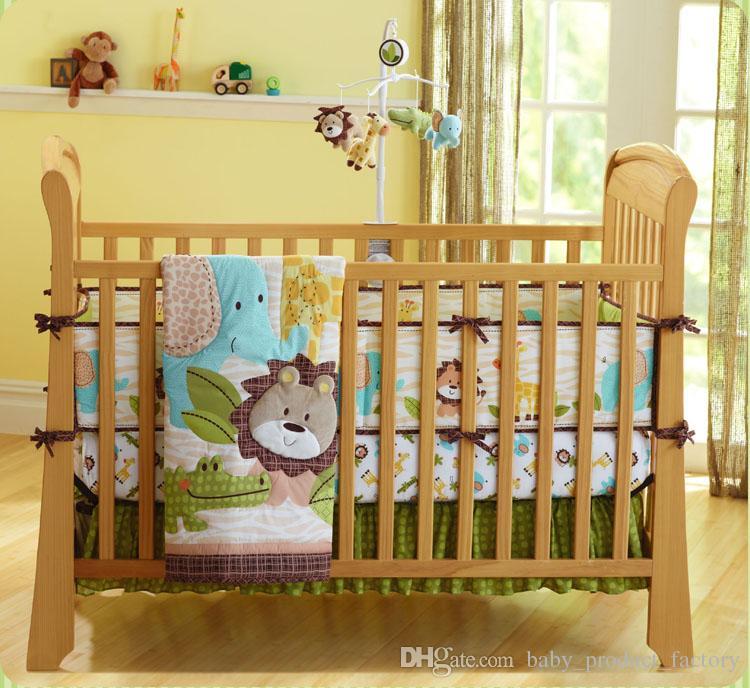 Großhandel Beförderung 7 Stücke Bestickt Babybett Bettwäsche Set