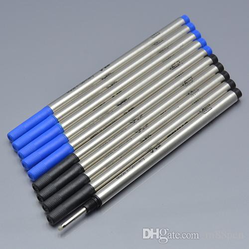 جودة عالية 10 قطعة / الكثير 0.7MM أسود / عبوة biue لكرة الأسطوانة القلم القرطاسية الكتابة الملحقات القلم السلس
