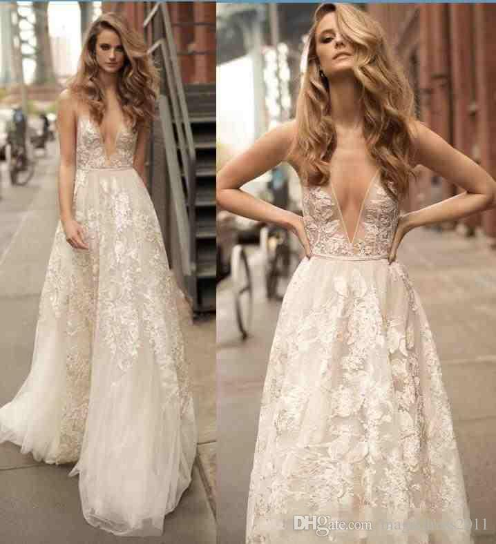 d7ac7e60b2f Boho Beach Lace Wedding Dresses 2018 Summer Berta Bridal Gowns Sexy Backless  A Line Floral Long Wedding Gowns With Spaghetti Straps Wedding Dresses Beach  ...