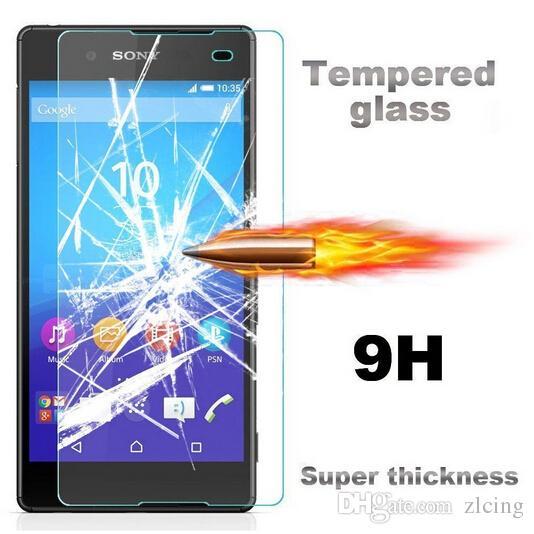 9 h 0.26mm hd premium de vidro temperado para sony xperia z1 / z1compact / z2 / z3 / z3compact / z4 / z4compact / e3 / e4 aqua à prova de explosão de tela 300 pçs / lote