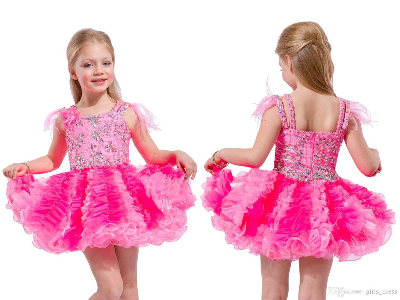 Compre Cute Niño Short Pageant Vestidos Con Plumas En Los Hombros ...