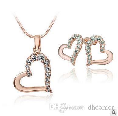 2018 diamond heart design necklace and earring sets gold diamond 2018 diamond heart design necklace and earring sets gold diamond heart pendant necklace stud earrings jewelry set from dhcomcn 194 dhgate aloadofball Images