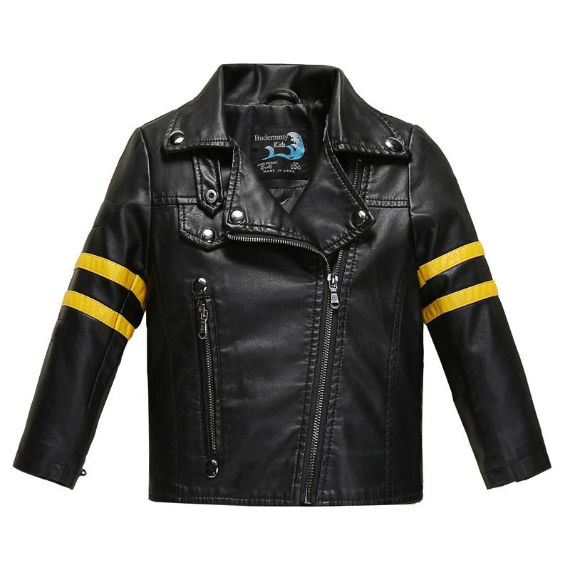 10158fc41 Causal Girl Leather Jacket Coat Classical Striped Jacket For 2 10yrs ...