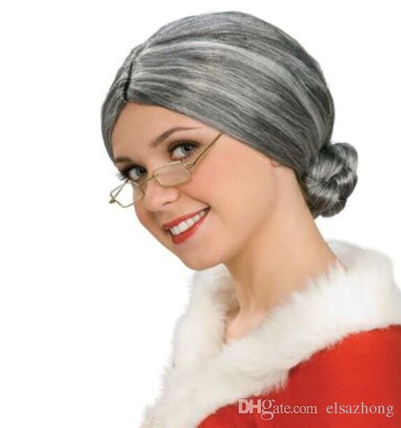 Grosshandel Olwig Grey Hair Alte Dame Mann Oma Fancy Dress Kostum