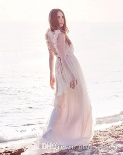 Bohemian Wedding Dresses New Arrival Backless High Low Chiffon Summer Beach Boho Style Long Sleeve Bridal Party Gowns
