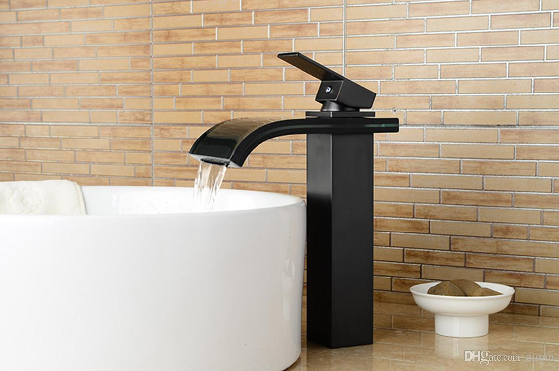 Bathroom High waterfall Faucet Black Finish Basin Faucet Mixer Tap Waterfall Faucet Bathroom sink glass Mixer Tap