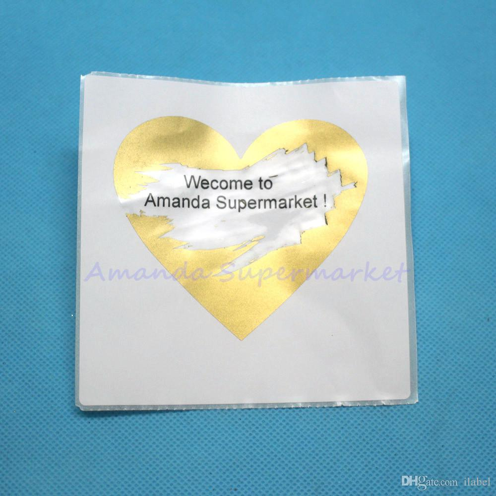 Scratch Off Stickers 70x80mm Love Heart Shape Golden Color Games Wedding