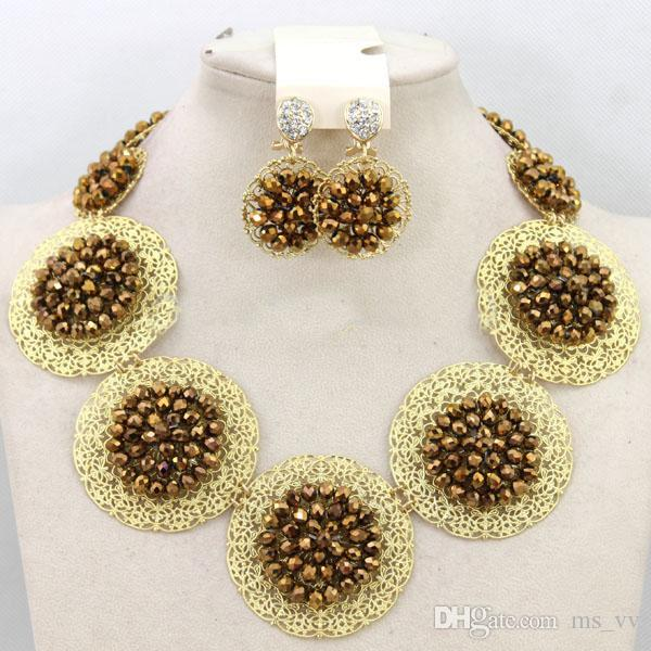 african jewelry sets Plated 18K gold nigerian wedding green crystal beads bracelet pendant necklace & stud earrings Fashion Jewelry Set