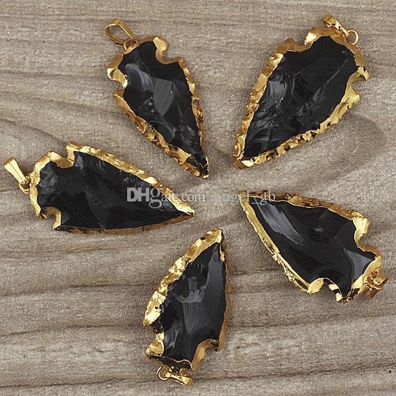 Flecha de punta de obsidiana negra Flecha colgante encantos con bordes chapados en oro Fianza, puntas de flecha negras Ágata Druzy colgante de cuarzo SD48_31