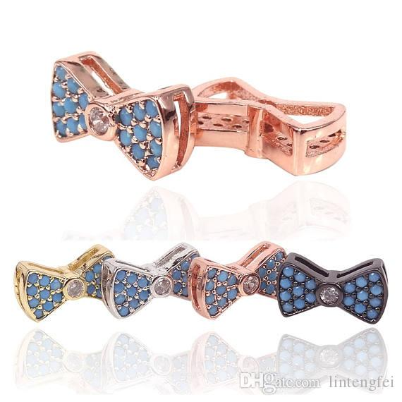 Bow knot charm/connector, 18k gold/rose gold/silver/black micro turquoise CZ zircon pave Bow Tie Metal beads For Women Jewelry Making