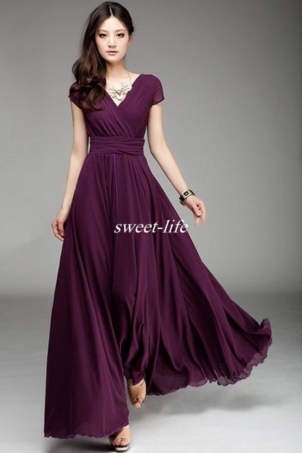 V Neck Short Sleeve Long Chiffon Bridesmaid Dresses Ruffle Elegant A Line Prom Dresses 2019 Floor Length Burgundy Wedding Party Dress