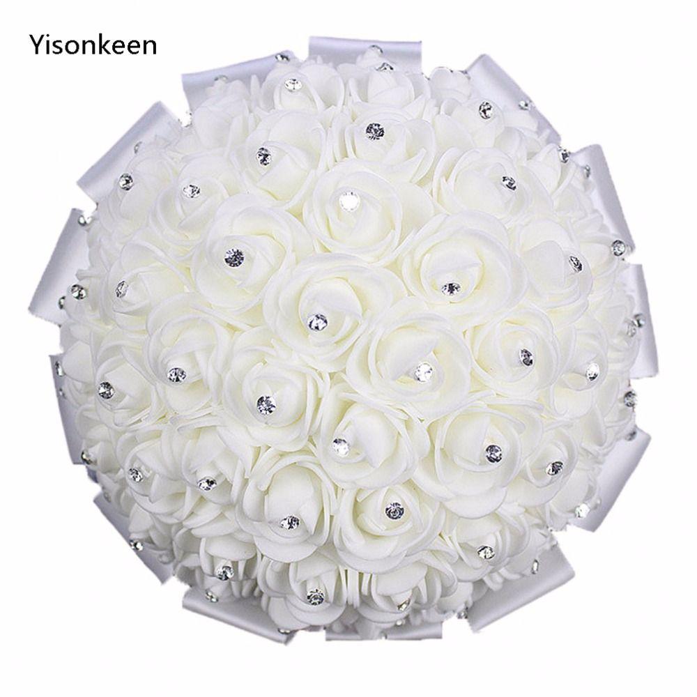 Wholesale Wedding Bouquet Crystal Diamond Wedding Flowers Ribbon