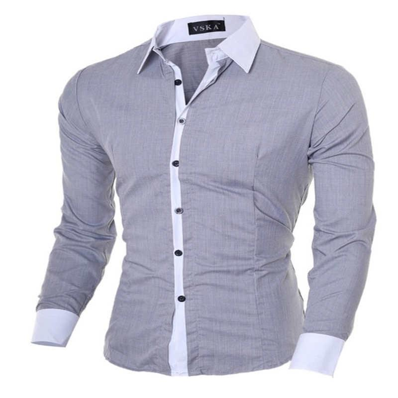 Wholesale-2016 New Fashion Hit Color Stitching Men's Shirts Men's Long-sleeved Korean Men's Casual Shirt Collar