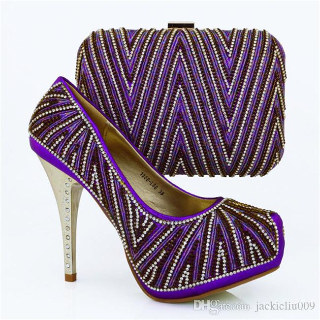 Gorgeous high heel 12.5CM african shoes matching hand bag set with nice rhinestone ladies pumps for party dress 1308-L66 fuchsia